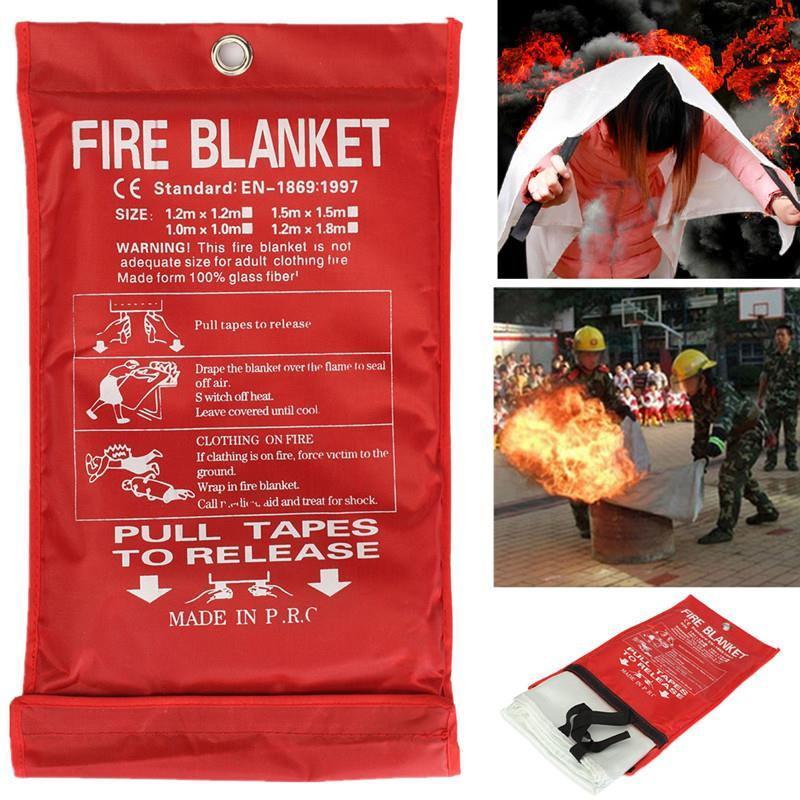 1 M x 1 M Selado Fogo Cobertor Casa Barco Tenda Abrigo de Sobrevivência de Emergência Fogo Extintores de Combate A Incêndio de Segurança Segurança cobrir