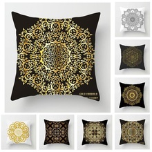Fuwatacchi Floral Pillow Cover Mandala Cushion Cover Black Gold White Printed Pillowcases For Sofa Car Chair Decorative Pillows fuwatacchi floral cushion cover feather leaves gold pillow cover for decor sofa chair square decorative pillowcases