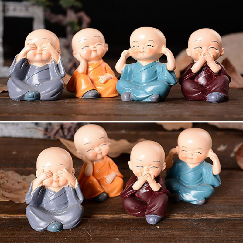4*Lovely Little Monk Car Decoration Resin Crafts Gift Little Cute Four Small Monks Buddha Resin Statue Creative Shaolin Dolls
