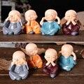 4 * украшение автомобиля изделия из смолы подарок милый маленький монах милые четыре не маленькие монахи Будда смола статуя Творческий шаолин куклы - фото
