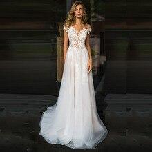 فستان زفاف شاطئ LORIE دانتيل سكوب a line زينة تول طويل الأميرة خمر فستان الزفاف 2019 مخصص ثوب زفاف