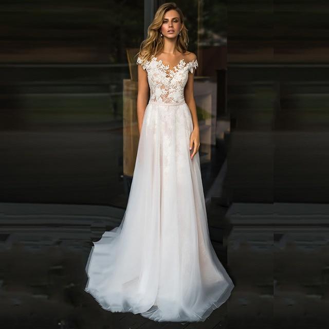LORIE plaża suknia ślubna koronkowa Scoop line aplikacje tiul długa księżniczka w stylu Vintage suknia ślubna 2019 suknia ślubna szyta na zamówienie suknia