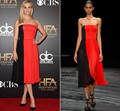 Reese Witherspoon Inspired 2017 Celebrity Dresses Strapless Red and Black Silk Chiffon Evening Gown vestidos de festa CE154