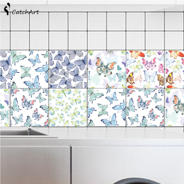 Pretty Erfly Tiles Stickers Waist Line Wall Sticker Kitchen Bathroom Toilet Border Waterproof Self Adhesive Decals