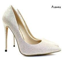 22a275f544 Aiyoway elegante mujeres señoras puntiagudos tacón alto brillo bombas boda  fiesta vestido Zapatos rosa oro deslizamiento