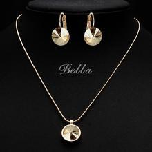 Joyería fina de la joyería nupcial conjuntos de 12mm turquesa collar + Aretes con piedras de cristal Austriaco juegos de joyería zafiro (JS0048)