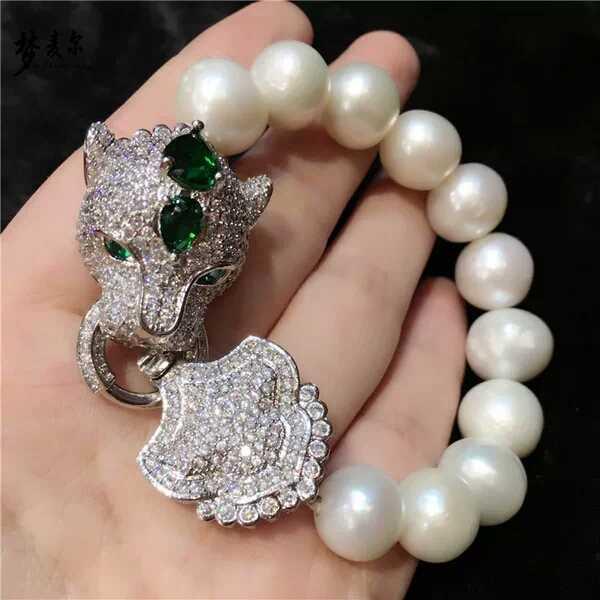 Diy ocena biżuteria Bijoux cyrkon Leopard głowy klamrami na bransoletki naszyjniki złącze urok miedzi zwierząt Micro Pave biżuteria
