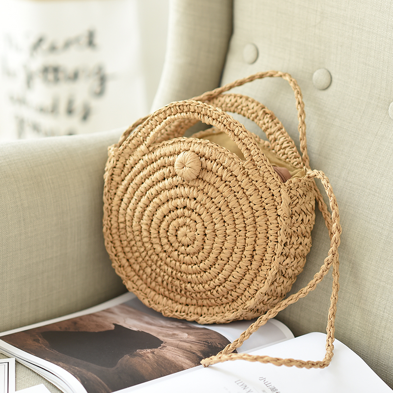 DAUNAVIA Round Beach Bag Summer Mini Vintage Handmade Crossbody Paper Rope Straw Bag Girls Circle Small Bohemian Shoulder Bags
