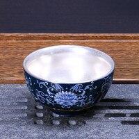 Silver Tea Cup 999 Sterling Silver Kung Fu Tea Set Tea Cup Ceramic Silver Master Cup Single Cup Jingdezhen Tea