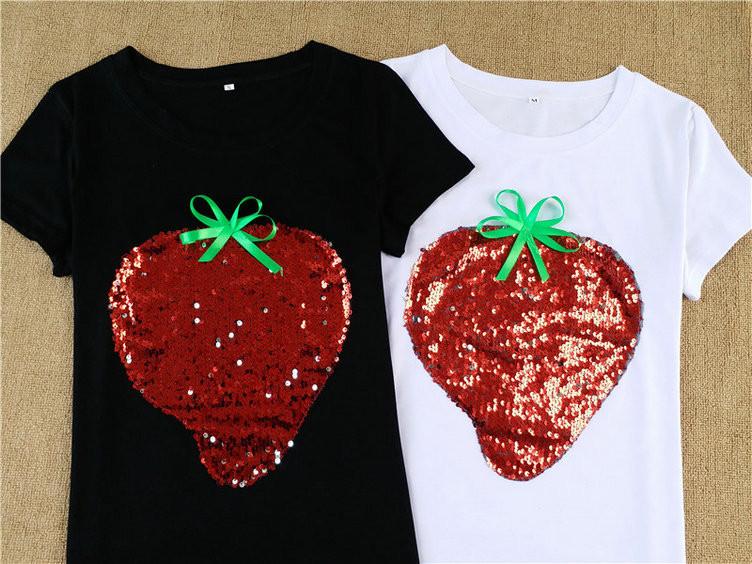 HTB1hp.fQFXXXXcsXVXXq6xXFXXXL - Strawberry Red Sequins Women Casual Short Sleeve Cotton Shirt 2017