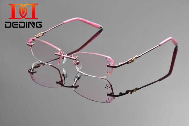 b3059e6d13 DeDing 2016 New Diomand Cutting Rimless Quality Optical Titanium Glasses  Women Gradient Glasses Frame Factory Wholesale