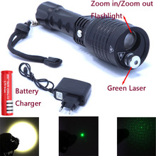 Wholesale 2 in 1 Flashlight and green laser zoomble high power led flashlight Lantern laser Pointer  with Charger and 18650 battery