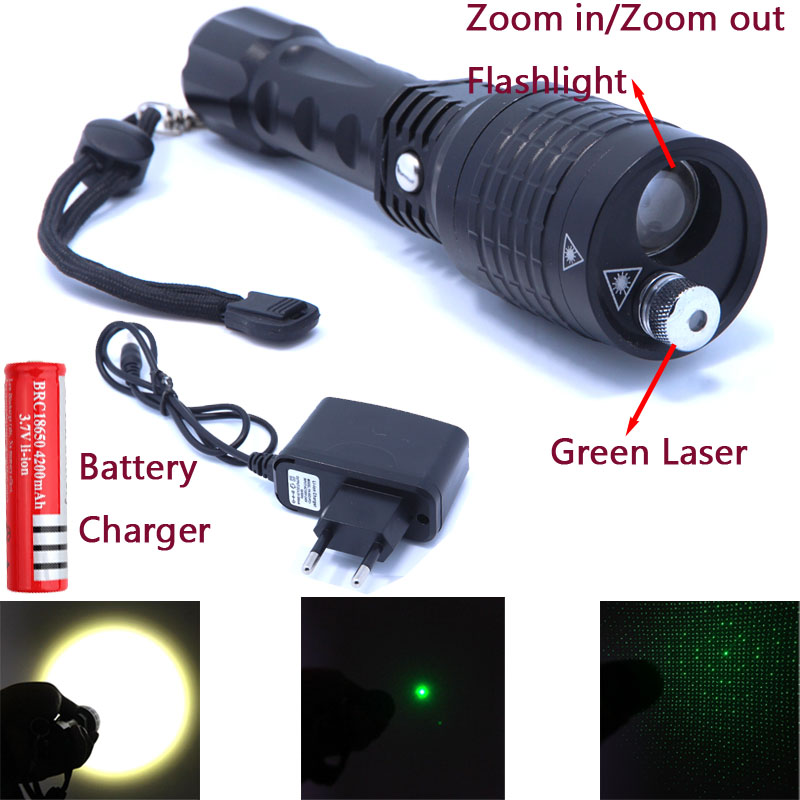 2 In 1 Flashlight And Green Laser Zoomble High Power Led Flashlight Lantern Laser Pointer  With Charger And 18650 Battery