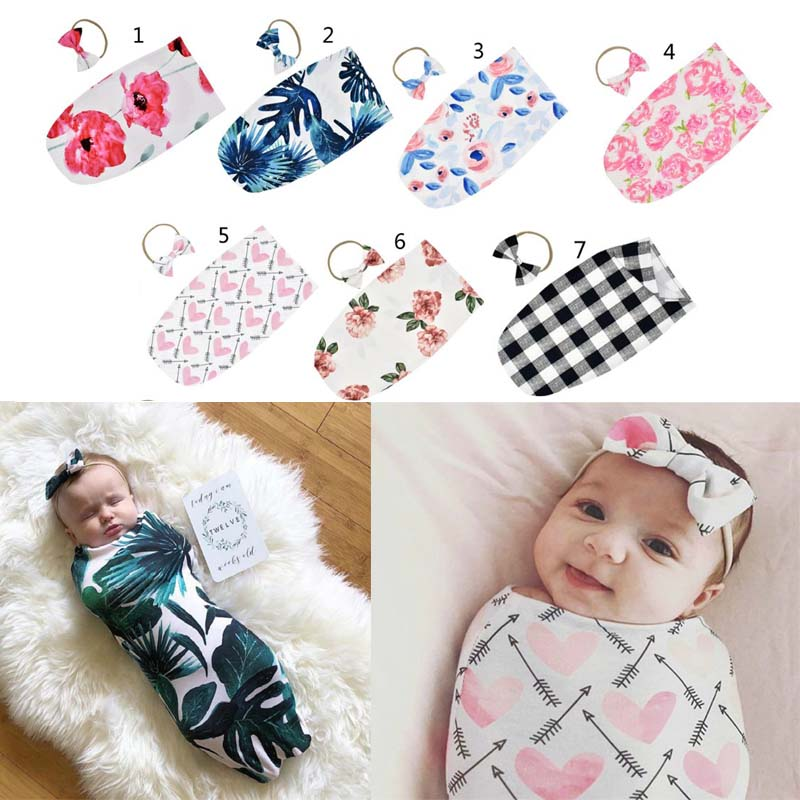 Newborn Infant Sleeping Bag Baby Fashion Printed Swaddle Blanket Muslin Wrap+Headband 2PCS New Born Photography Prop Set
