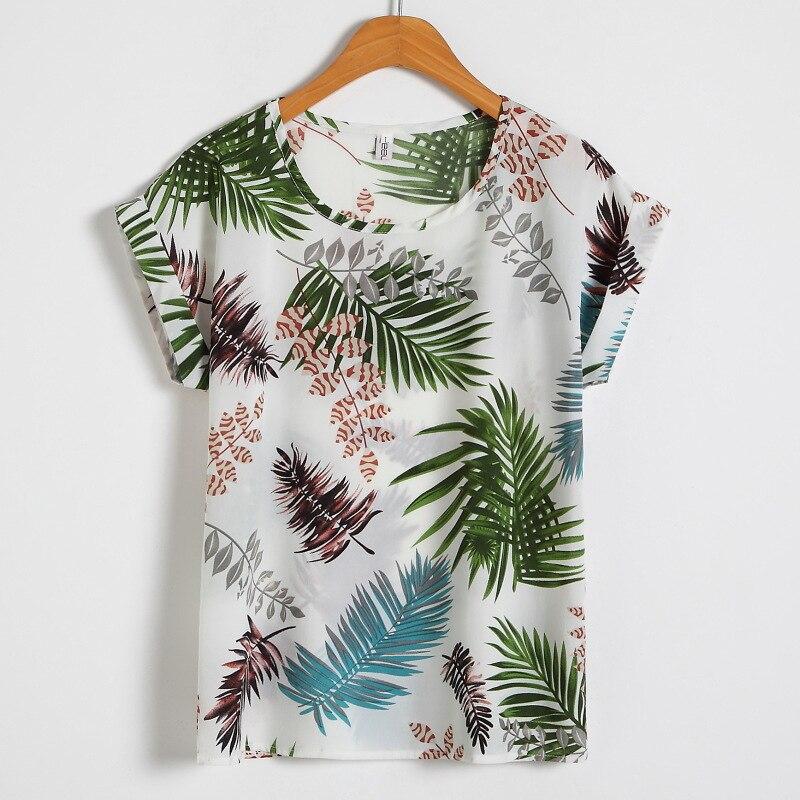7 צבעים קיץ נשים של חולצה מקרית חולצה פרחוני שיפון למעלה הדפסת O צוואר קצר שרוול ליידי של למעלה Loose blusas בתוספת גודל M-4XL