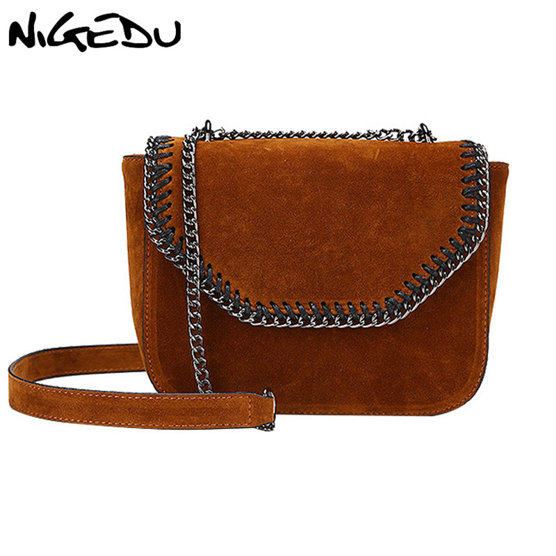 NIGEDU Vintage matte  small bag female shoulder bag gift  Weaving chains crossbody bags for women suede flap bag  Handbag Brown vvmi 2016 new women handbag brand design rivet suede tassel bag chic classic vintage saddle bag single shoulder bag for female