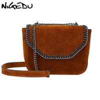 NIGEDU Vintage Matte Small Bag Female Shoulder Bag Gift Weaving Chains Crossbody Bags For Women Suede
