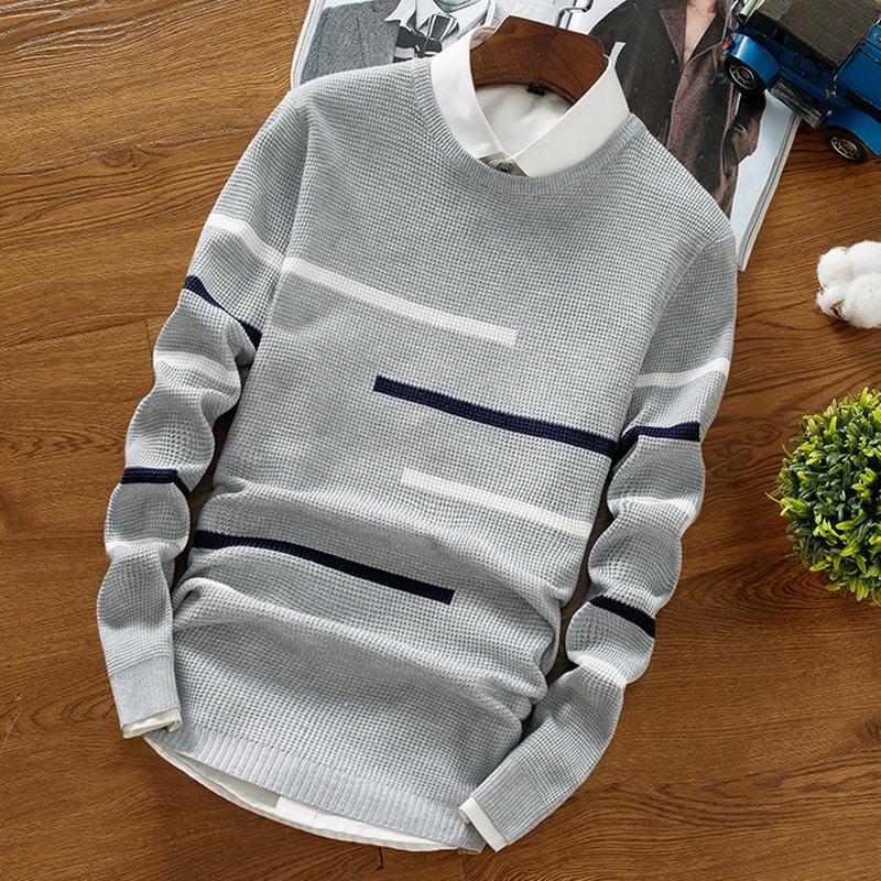 2018 Herbst Winter Wolle Gestreiften Pullover Herren Marke Casual Blau Männlichen Pullover Oansatz Slim Fit Strick Männer Pullover Pullover 50