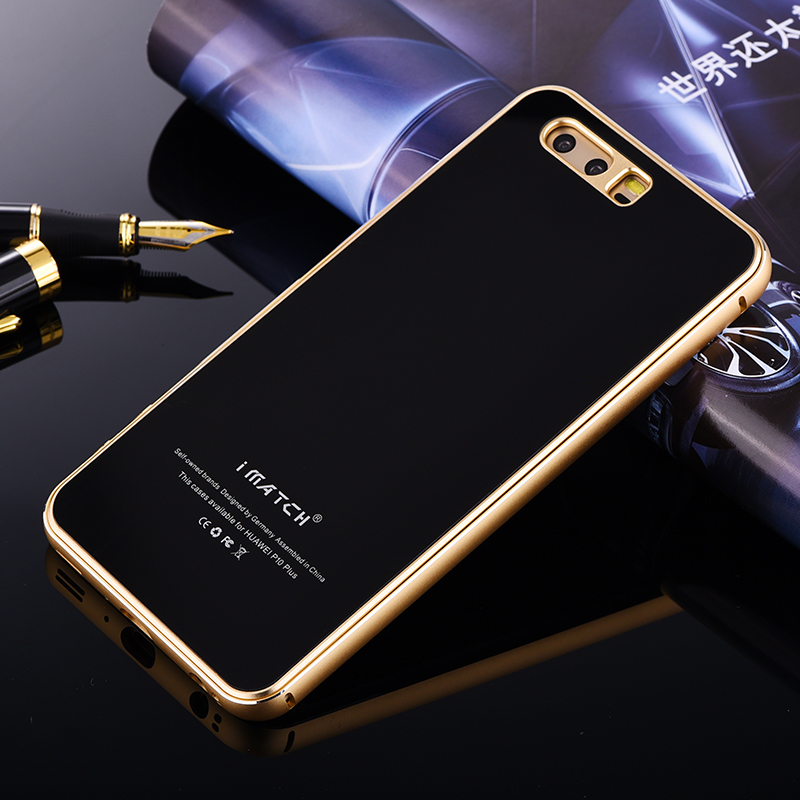 Original iMatch Aluminum Metal Case For Huawei P10 P10 Plus Luxury 9H Hardness Tempered Glass Cover