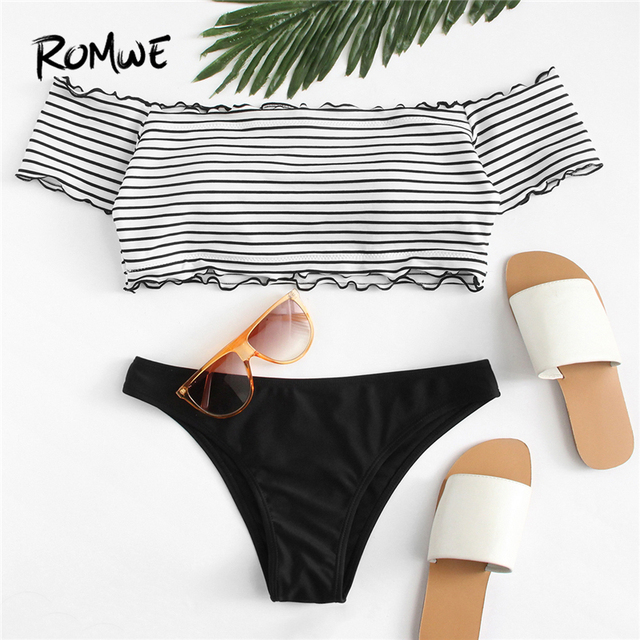 cb6b80e6a2f US $19.98 |Aliexpress.com : Buy Romwe Sport Lettuce Edge Mix and Match  Bardot Bikini Set Women Clothing Bathing Swimwear 2018 Summer New Sexy  Swimsuit ...