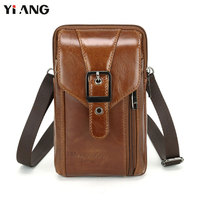YIANG Men S Fashion Genuine Leather Casual Cross Body Shoulder Bags Men S Messenger Travel Bag