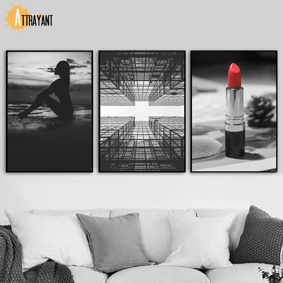 ATTRAYANT Girl Skyscrapers Lipstick Canvas Painting Posters And Prints Wall Art Canvas Pop Art Wall Pictures For Living Room