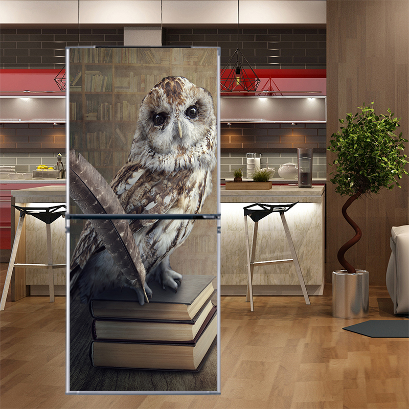 DIY Carton Flowers Waterproof Wallpaper Self Adhesive Refrigerator Sticker Fridge Door Cover Wall Stickers Home Decor