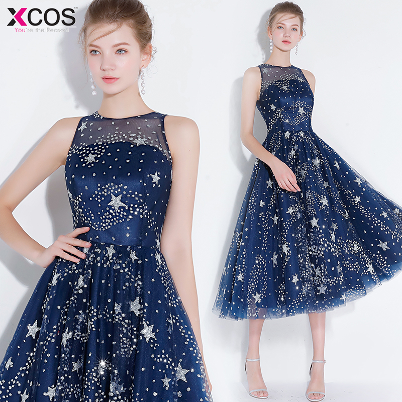 Cheap Graduation Dresses Silver Twinkle Star Cocktail Party Gowns Knee Length Short Navy Blue Tulle Homecoming Dress 2019