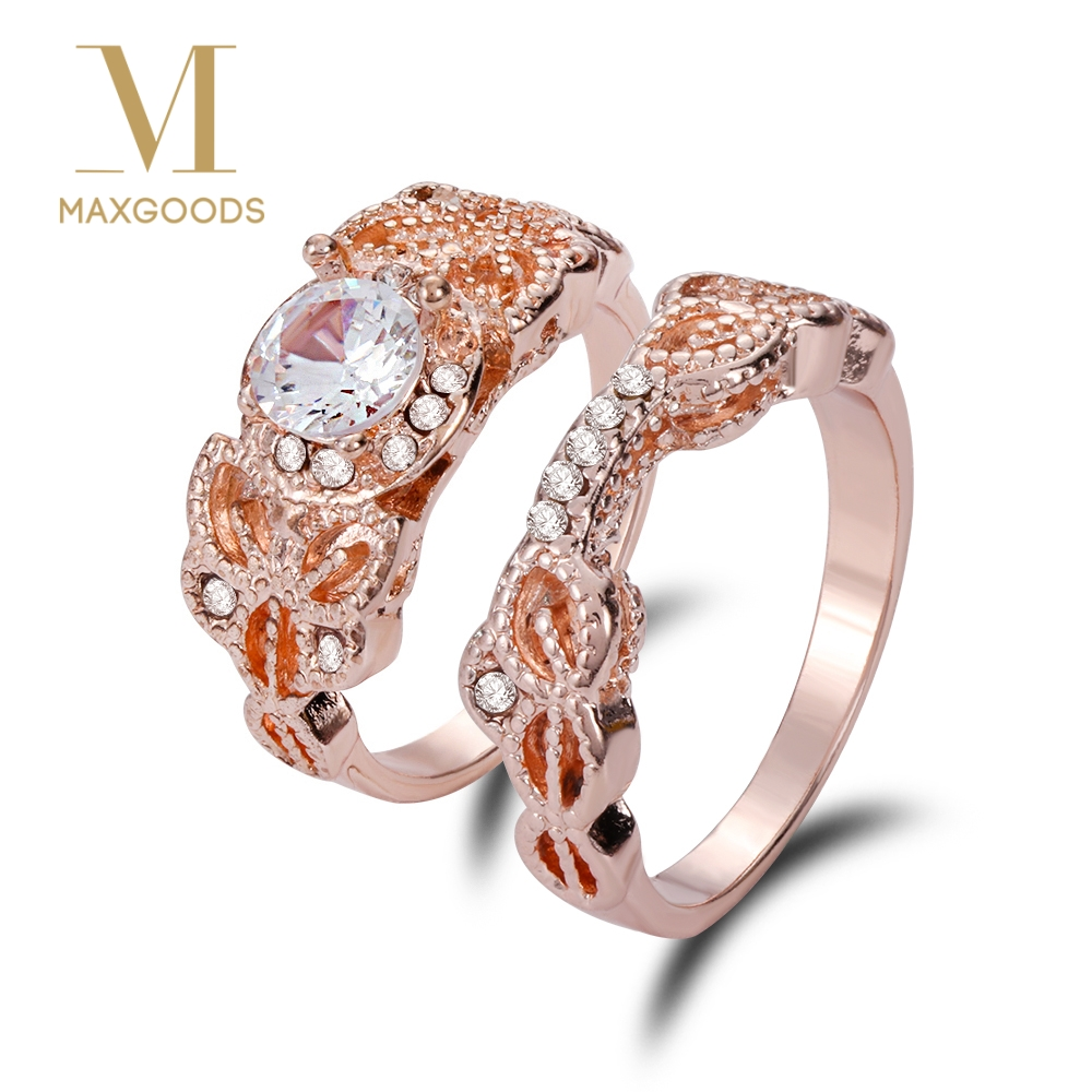 Aliexpress.com : Buy 2 Pcs/Set Crystal Ring Jewelry Rose