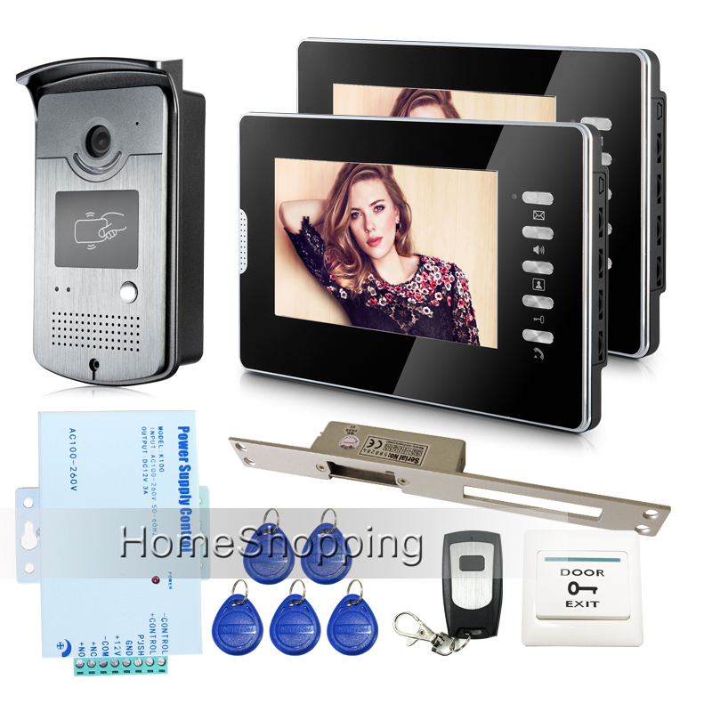 Brand New Wired 7 inch Video Door Phone Intercom System 2 Monitors + RFID Door Camera + 250MM Electric Strike Lock FREE SHIPPING free shipping brand new home 7 inch video intercom door phone system 2 monitors rfid camera long 250mm strike lock in stock