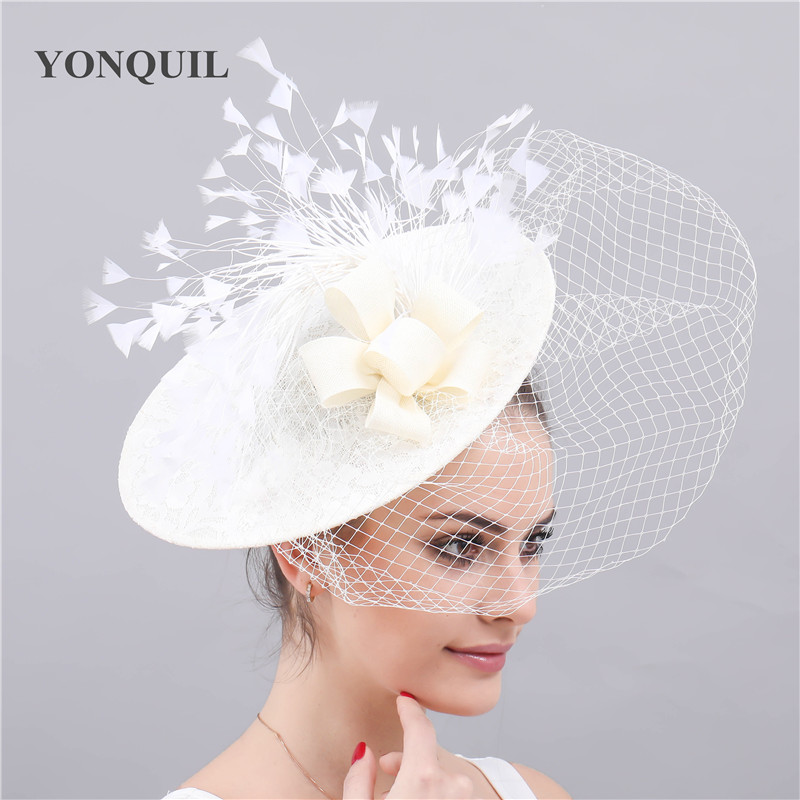 Elegant Chapeau Feather Flower Fascinators Ladies Kenducky Derby Hats Caps Party Wedding Fedora Bridal New Fashion Hair Clips