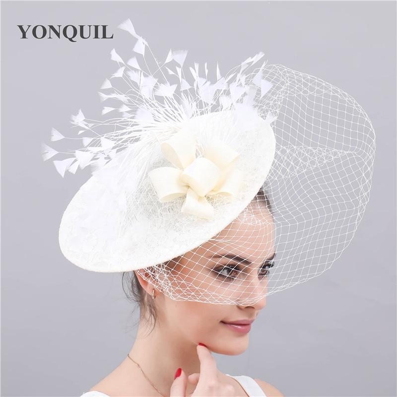 Elegant Chapeau Feather Flower Fascinators Ladies Kenducky Derby Hats Caps Party Wedding Fedora Bridal New Fashion Hair Clips