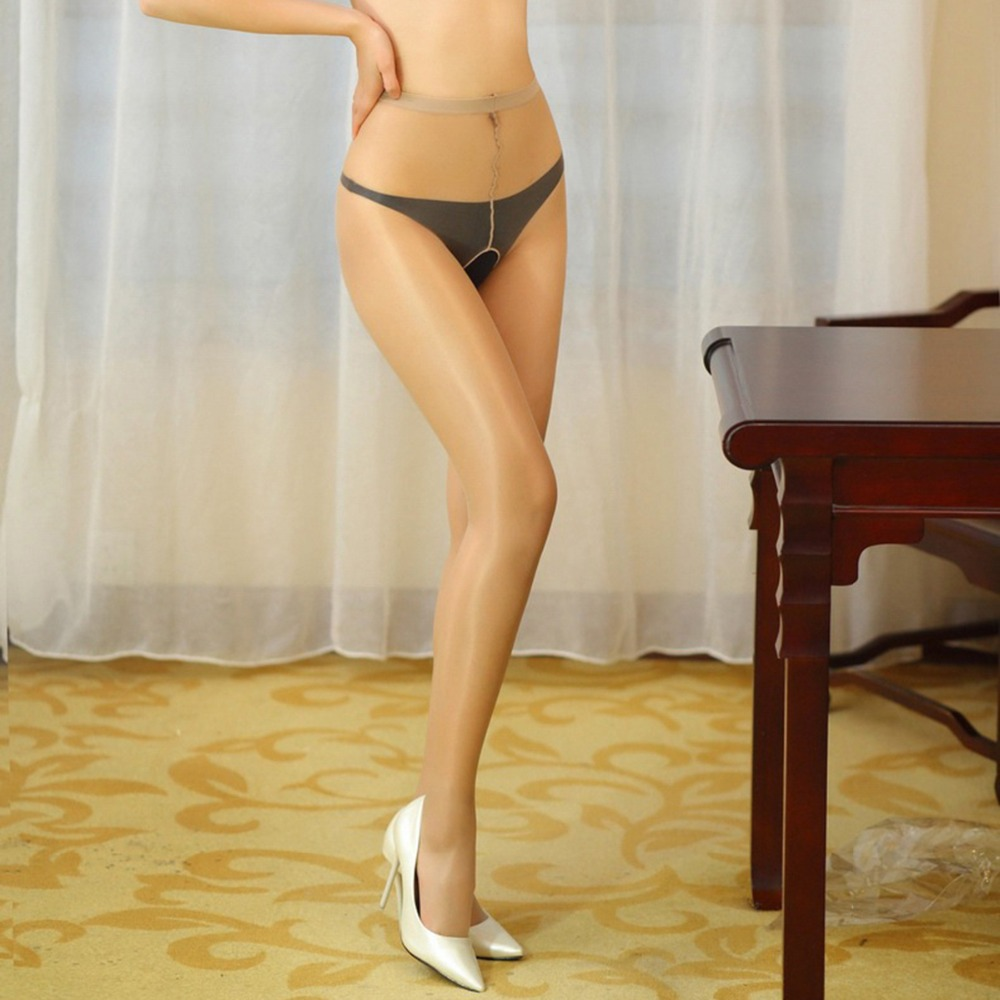 Women Sexy Oil Crotchless Shiny Pantyhose Open Crotch High Waist Tights Gloss Sheer Collant Medias
