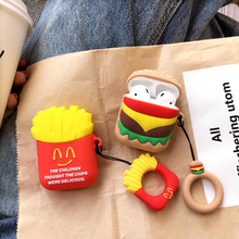 Fun Cartoon French Fries Wireless For Airpods For Air Pods Eaphone Charging Box Case Couples Soft TPU Cover Cases With The Ring