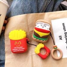 재미있는 만화 감자 튀김 에어 포드 용 airpod 용 무선 Eaphone 충전 박스 케이스 커플 링 소프트 TPU 커버 케이스