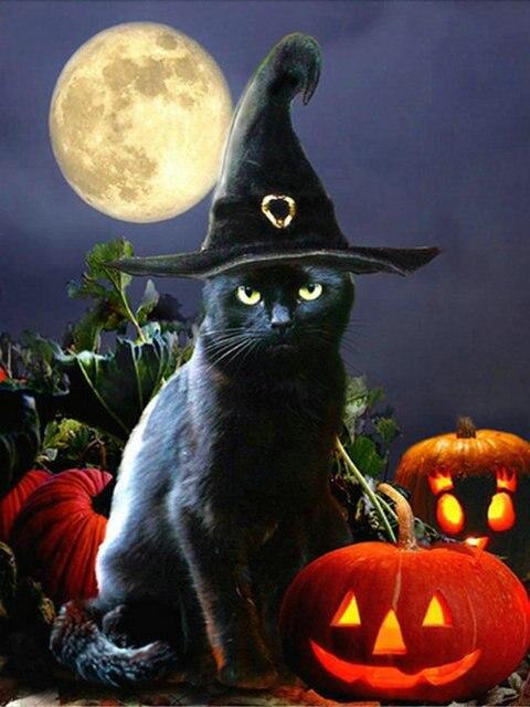 5d Diy Diamond Painting Cross Stitch Pumpkin Diamond Embroidery Halloween  Black Cat Picture Diamond Mosaic Home