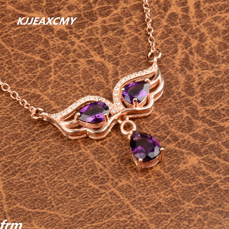 KJJEAXCMY boutique jewelry,Natural Brazilian amethyst female cross clavicle chain woman beautiful chain oh 925 sterling silver