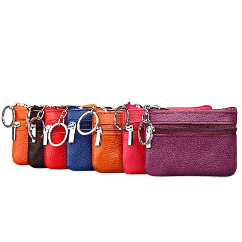 Fashion Women Men Genuine Leather Coin Purse / Key Wallet Muifunctional Ladies Double Zipper Mini Card Holders Key Ring Wallet