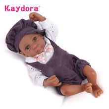Reborn Baby Dolls Mini 25 CM Handmade African American Boy Full Vinyl Baby Kids Playmate Toys For Girls Kaydora(China)