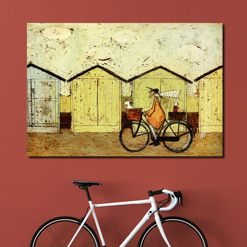 QKART Oil Painting Wall Art on Canvas Riding Bike With Dog wall ...