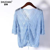 Shuchan 2019 New Linen Women Sweaters And Pullovers Hollow Out Short Tops Lace Up Geometric V neck Thin Pullovers Woman Summer