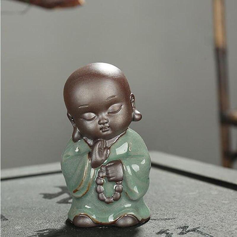F Creative Boutique Smiling Buddha Tea font b Pet b font Ceramic Mad Monk Ornaments Kung