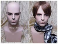 Realistic Fiberglass Plus Size Male Mannequin Manikin Dummy Head For Hat Wig And Sunglasses Display