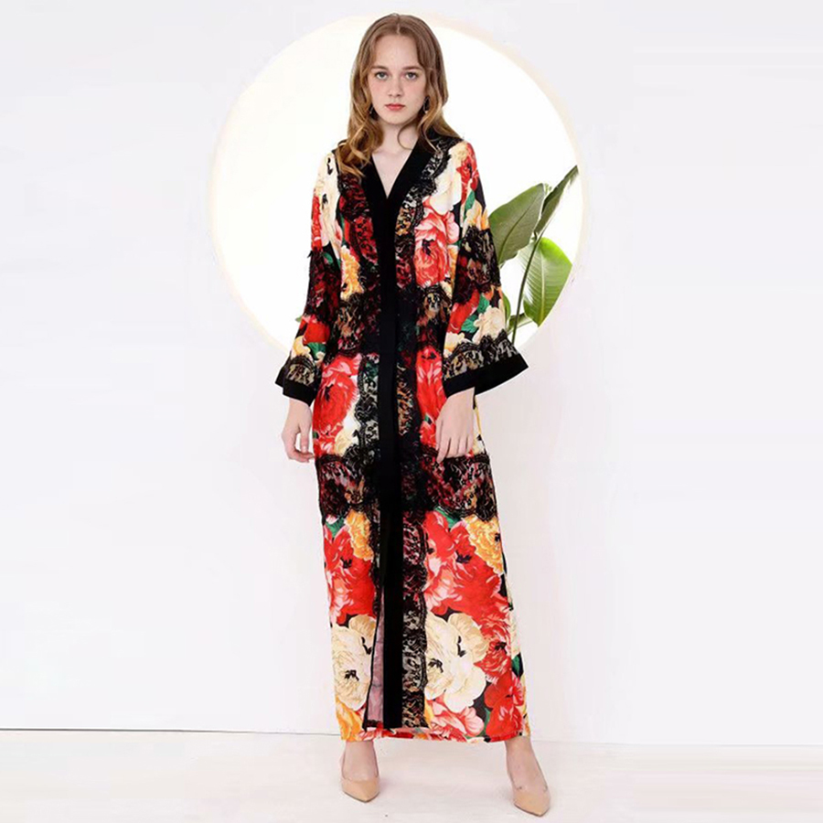 VERDEJULIAY Vintage Maxi Long Dress 2019 Summer Runway Fashion Full Sleeve Cardigan Lace Patchwork Flower Print Loose Dress