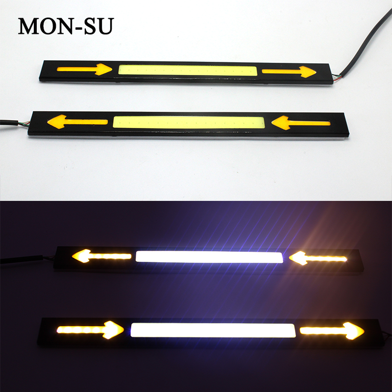 MON-SU 2pcs Car Turn Signal Lights Lamps Decorative Lamp Styling Car Driving Day Running Light Waterproof COB Day Time Work Lamp