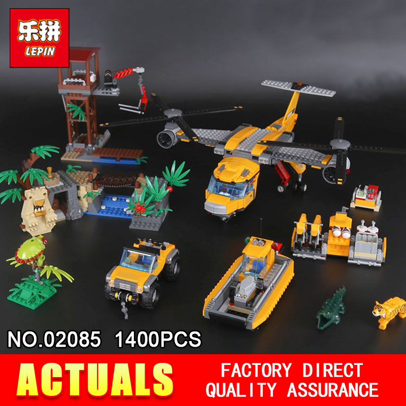 Lepin 02085 1400Pcs Genuine City Series The Jungle Air Drop Helicopter Set 60162 Building Blocks Bricks Toys for New Year Gift ynynoo lepin 02043 stucke city series airport terminal modell bausteine set ziegel spielzeug fur kinder geschenk junge spielzeug