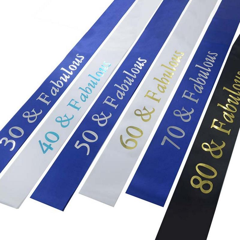 1PC Hot sale 30 40 50 60 70 80 Fabulous <font><b>Birthday</b></font> Sash for Women Men 30th 40th 50th 60th <font><b>70th</b></font> 80th <font><b>Birthday</b></font> Party Decor Supplies image