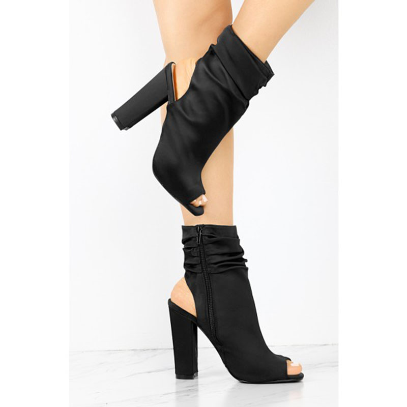 Chunky Negro Shoes11 13 Peep Mujeres Toe Tamaño Otoño Fsj01 Más Zapatos 2018 Slingback 12 Tacones Primavera Damas Bombas Moda xw1qvw0pZ