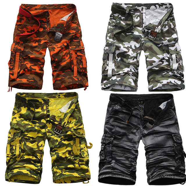 Summer Multi Pocket Army Bermuda Camouflage Cargo Shorts Men Camo Yellow  Orange Washed Black Snow Grass c2adf4df85c