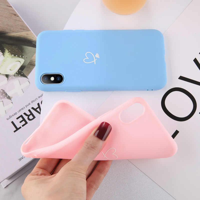 Lovebay Warna-warni Cinta Jantung untuk iPhone 11 Pro X XR X Max Se 2020 6 6S 7 8 PLUS 5 Se Permen Warna Lembut TPU Back Cover